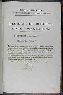 Qu'est-ce qu'un registre un acte?