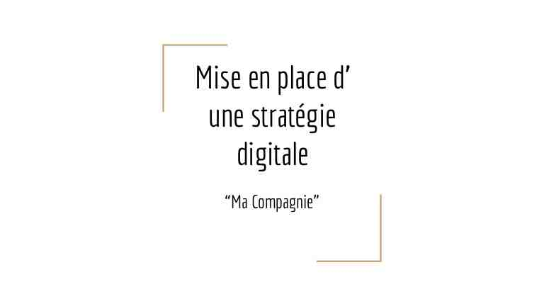 Quelle est la stratégie digitale?